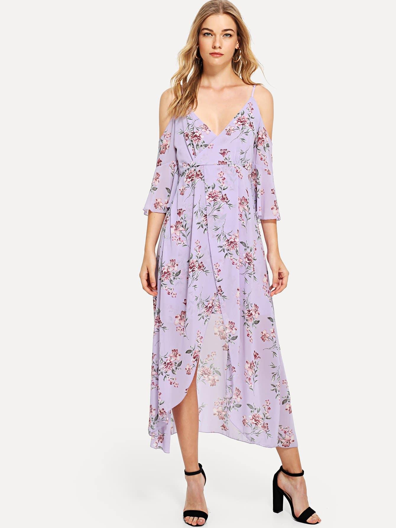 Купить Платье с запахом в цветочек и открытыми плечами, Teresa, SheIn