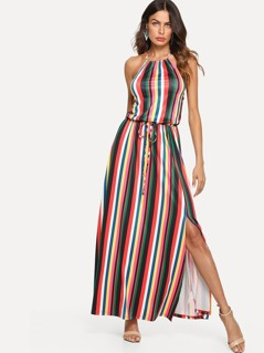Drawstring Waist Striped Halter Maxi Dress