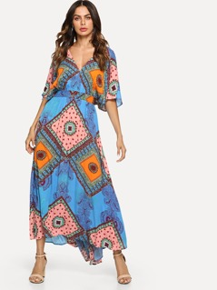 Tasseled Tie Double V-Neck Patchwork Print Dress
