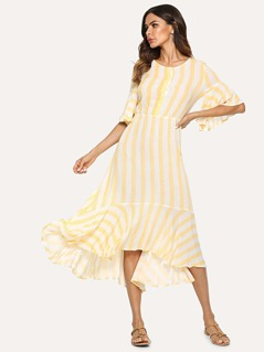 Half Placket Bell Sleeve Striped Dress