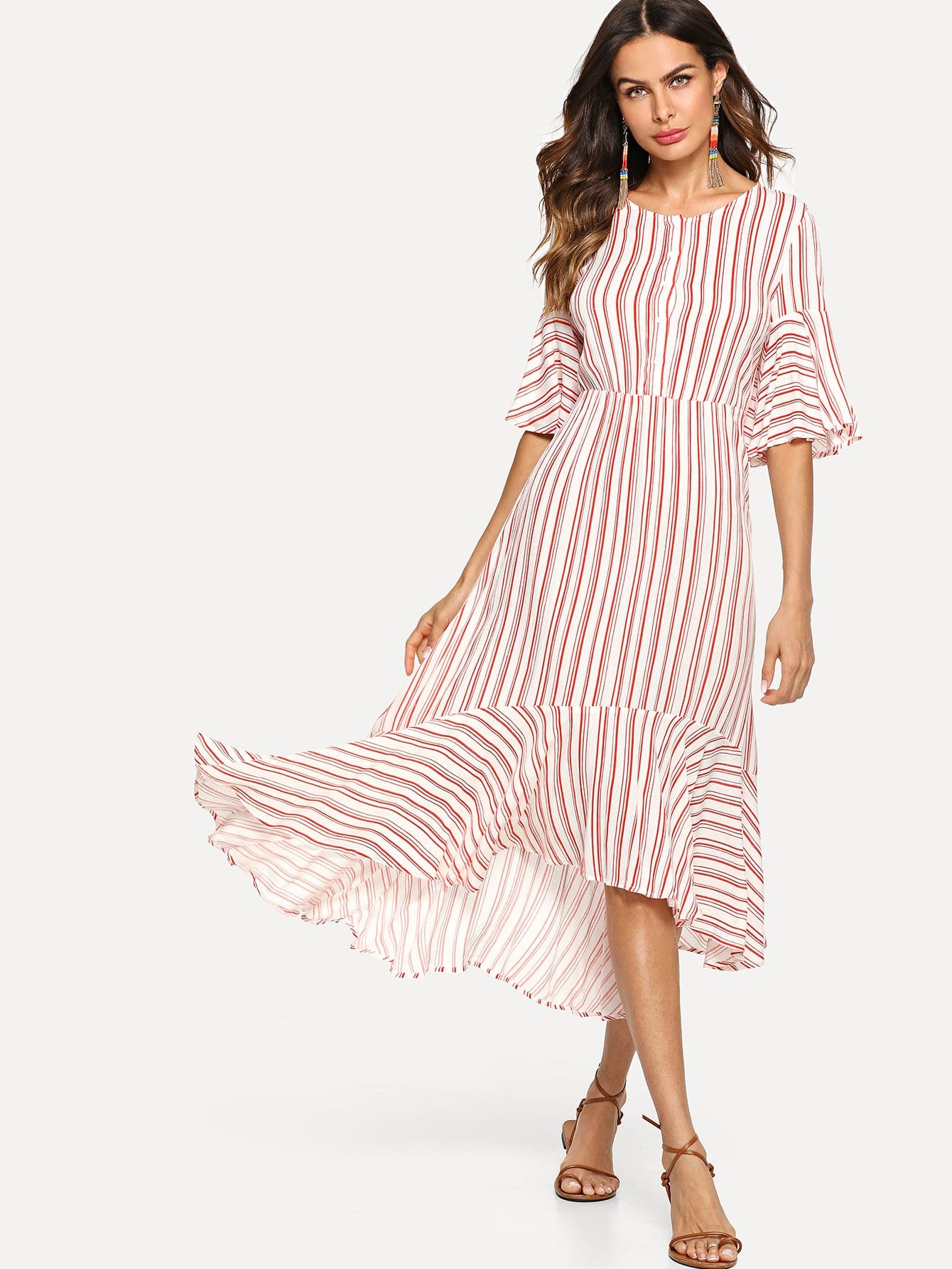 Half Placket Bell Sleeve Striped Dress half placket striped smock shirt dress
