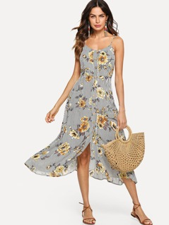 Button Through Pocket Front Floral & Striped Cami Dress