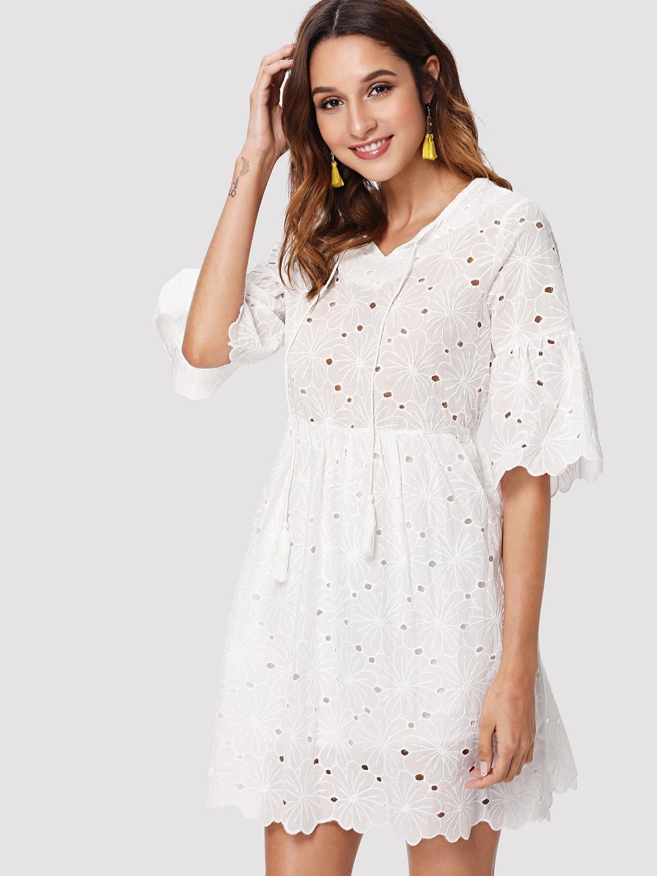 Flounce Sleeve Eyelet Embroidery Dress flounce sleeve eyelet embroidery dress