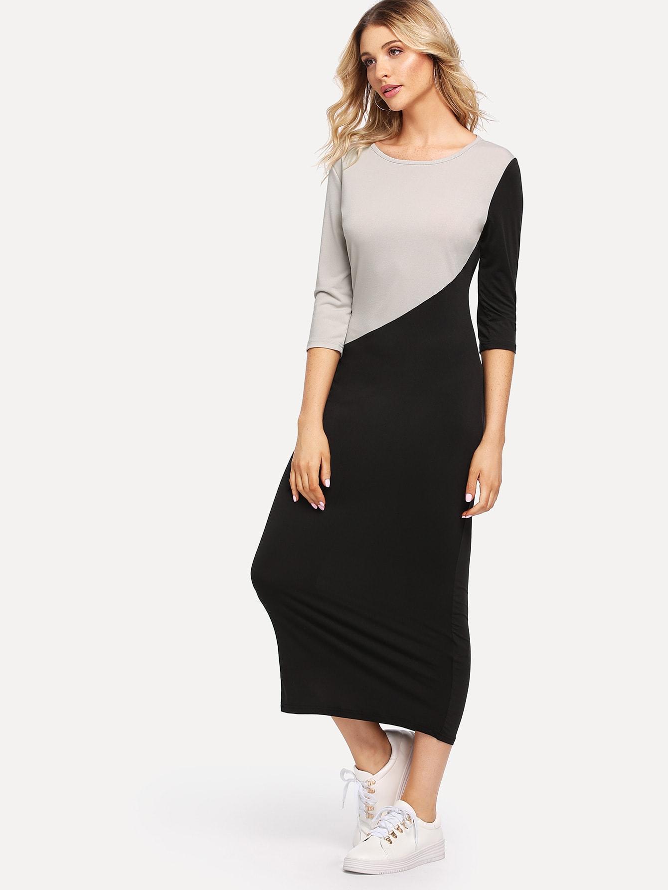все цены на Cut And Sew Two Tone Dress