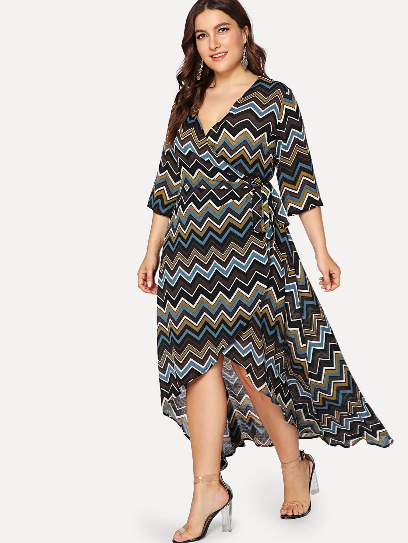 Wrap Front Chevron Print Dress with Belt wrap front floral jumpsuit with belt