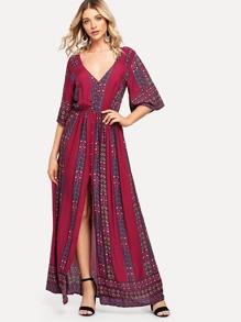 V Neck Bell Sleeve Slit Floral Tape Dress