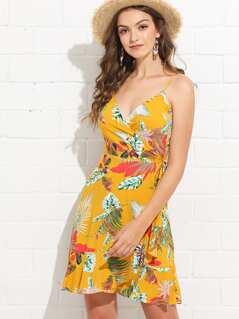 Cold Shoulder Bell Sleeve Tropical Dress