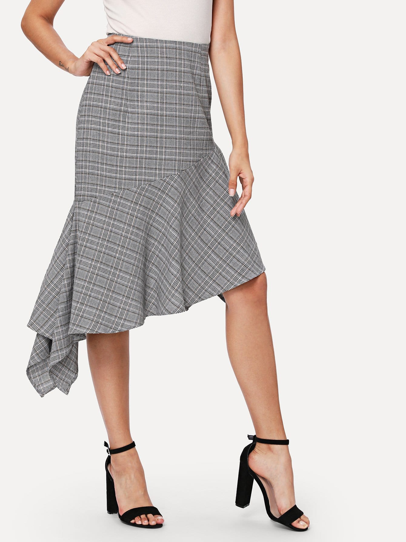 Asymmetric Flounce Hem Plaid Skirt flounce light up cosplay skirt