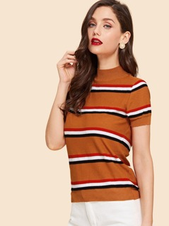 Mock Neck Striped Knit Top