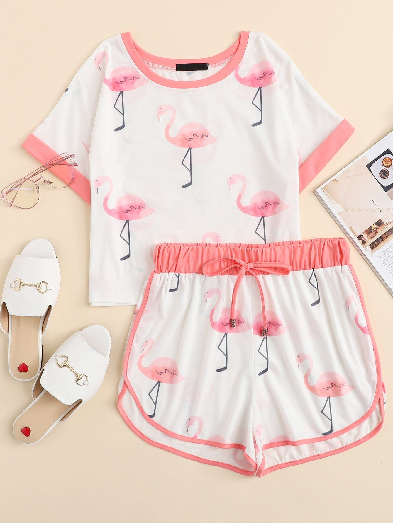 Купить Комплект футболка с принтом фламинго и шорты, null, SheIn