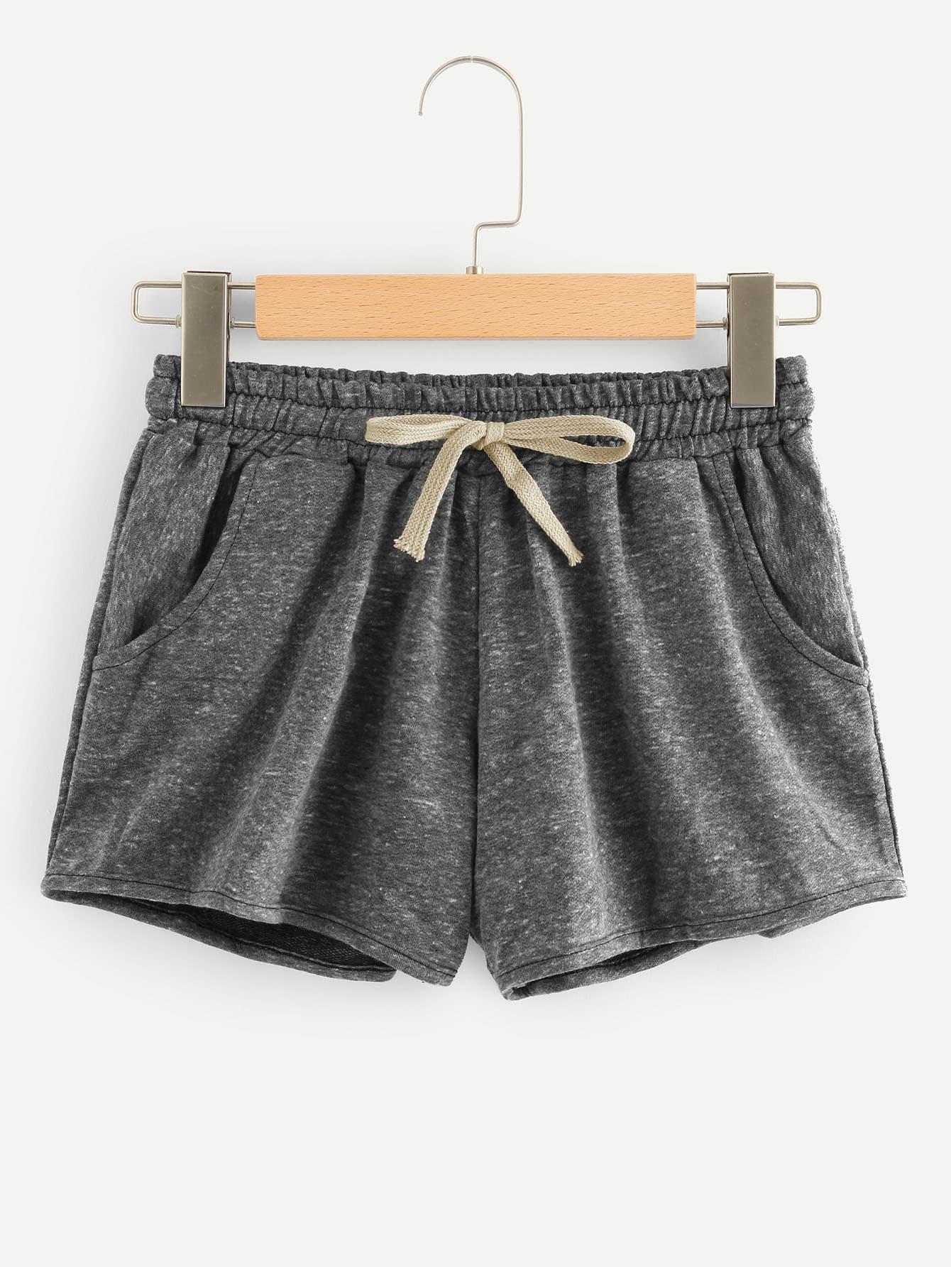 Drawstring Waist Space Dye Shorts