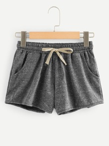 Drawstring Waist Space Dye Shorts