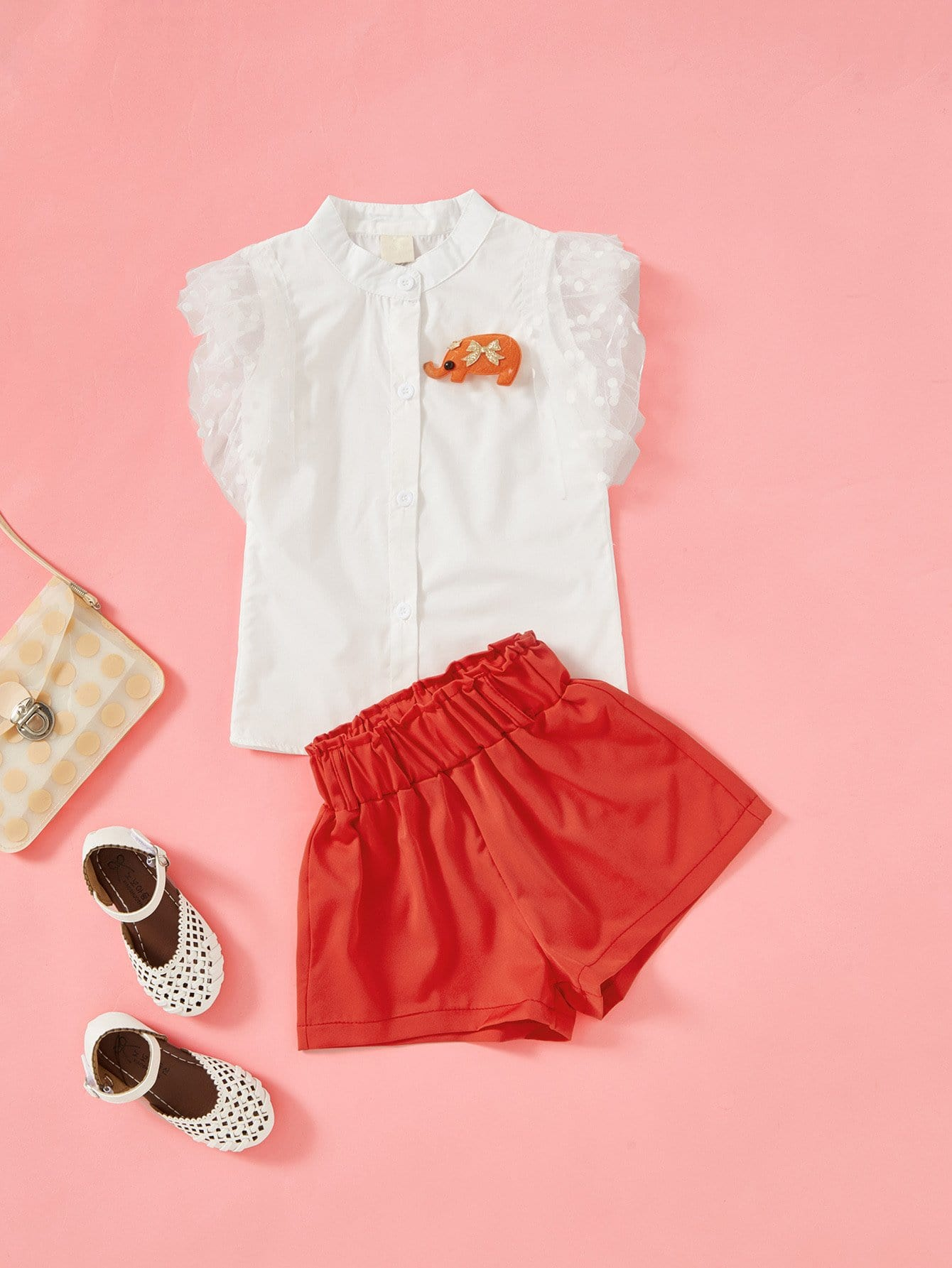 Girls Elephant Embroidery Mesh Panel Top With Shorts