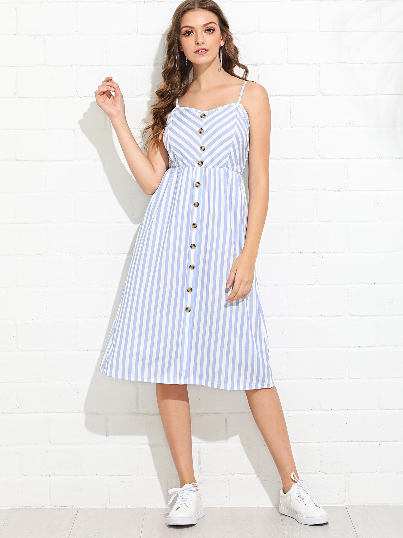Striped Button Front Dress button front striped blouse