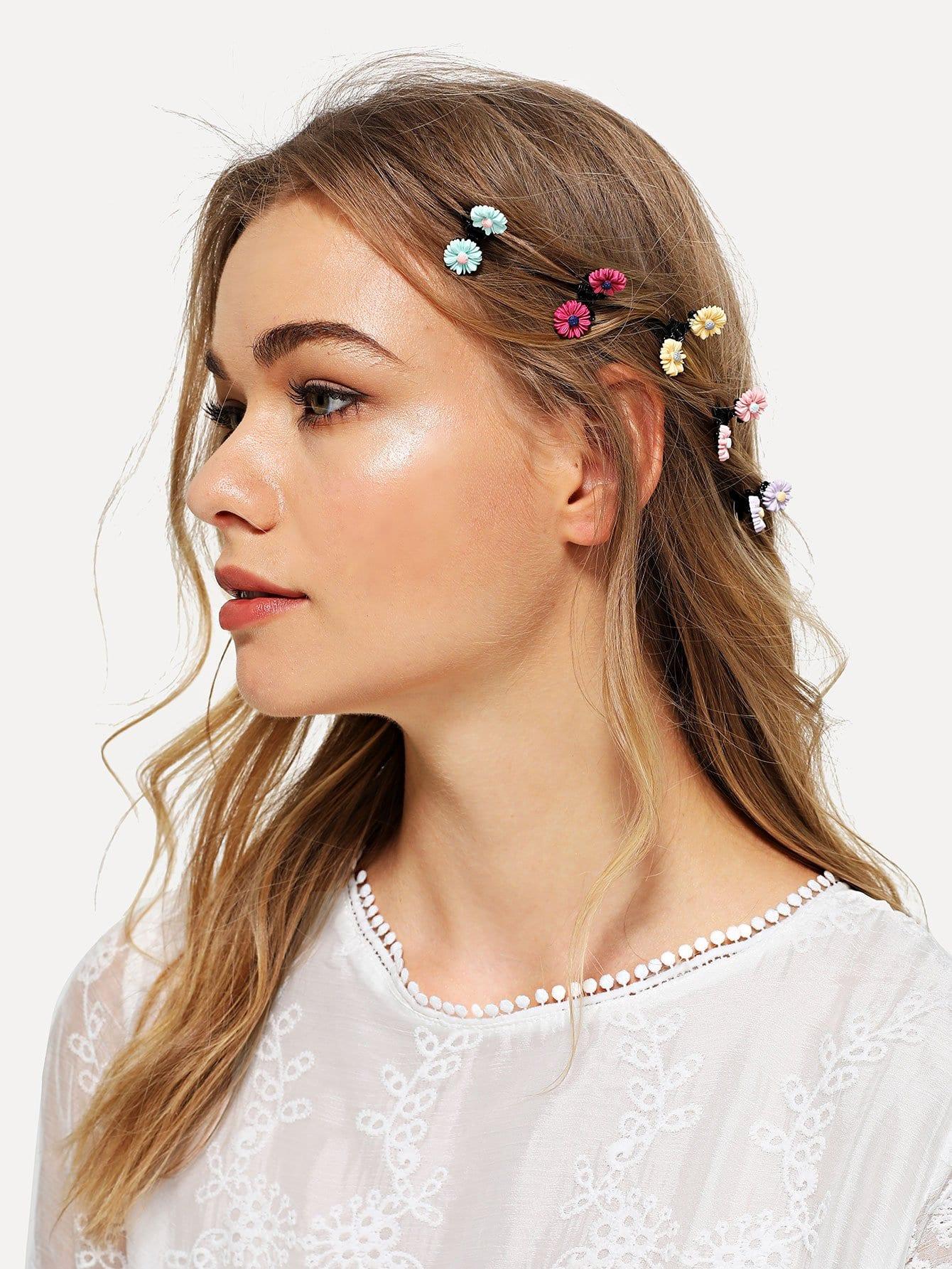 Flower Decorated Hair Clip 5pcs все цены