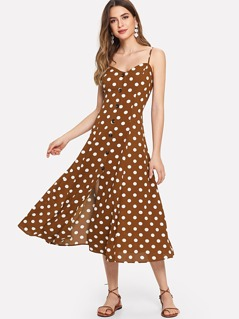 Polka Dot Crisscross Back Button Up Cami Dress