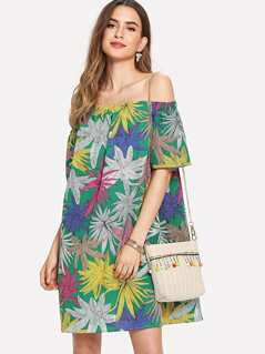 Leaf Print Tunic Bardot Dress
