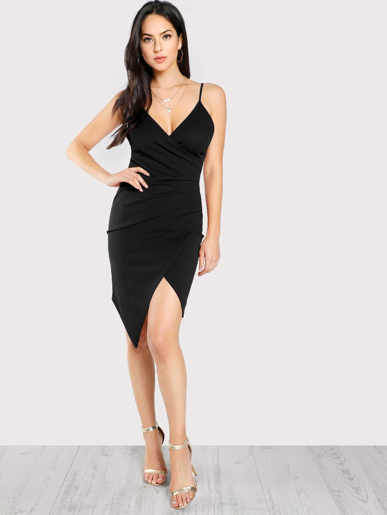 Ruched Overlap Form Fitting Cami Dress ruched overlap cami dress