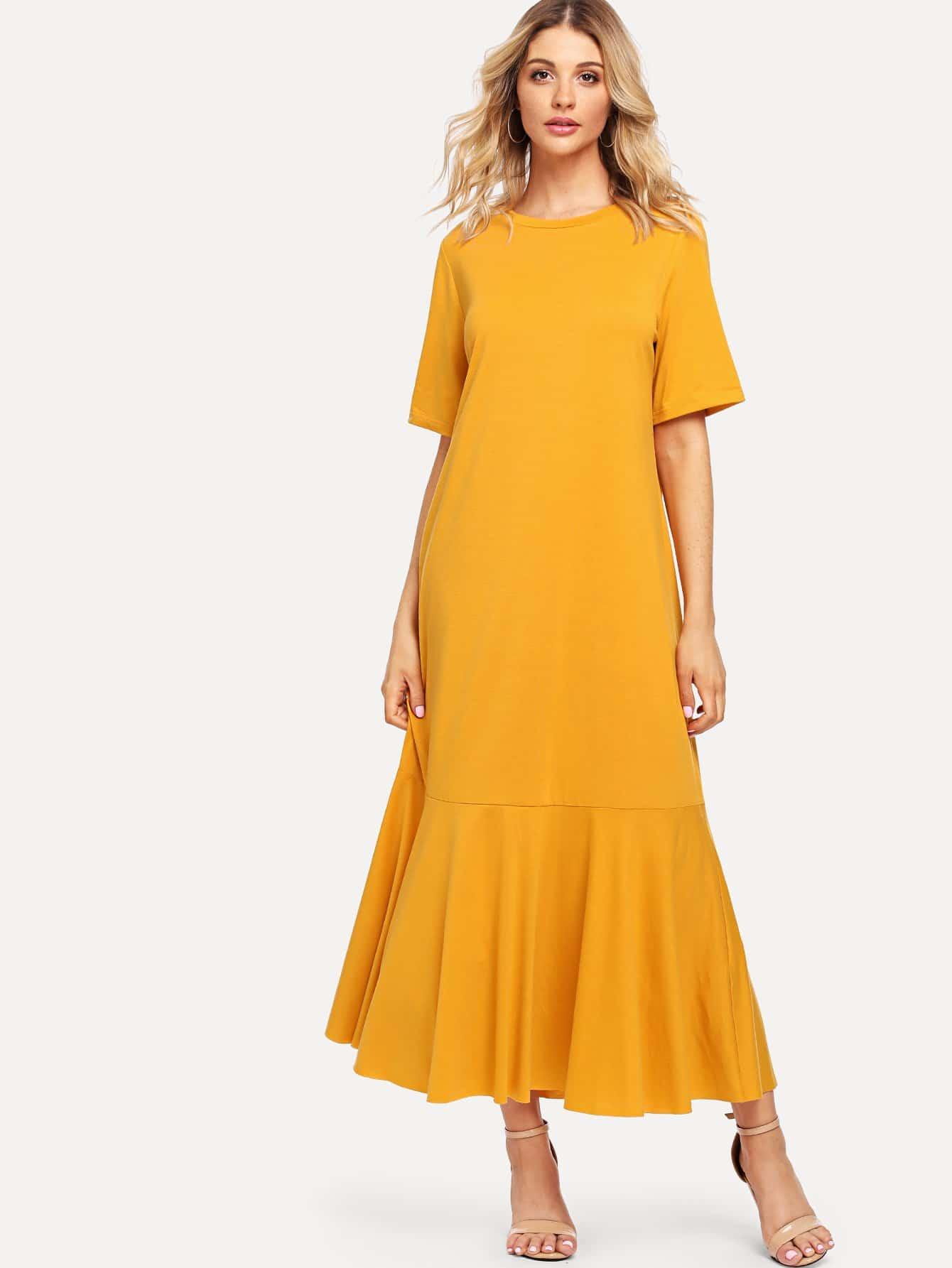 Solid Ruffle Hem Dress tied neck solid ruffle hem dress