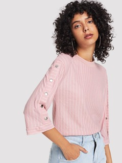 Buttoned Sleeve Pinstripe Top
