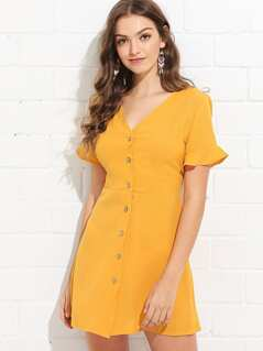 Flounce Sleeve Button Through Dress