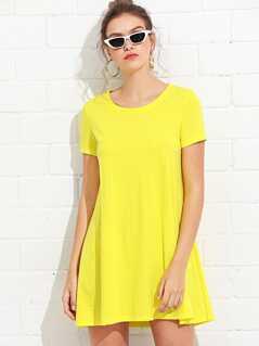 Short Sleeve Basic Shift Dress