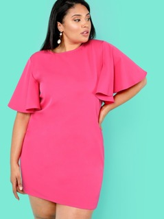 Plus Flutter Sleeve Solid Tunic Dress