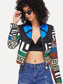 Multicolor Long Sleeve Geometric Print Crop Jacket