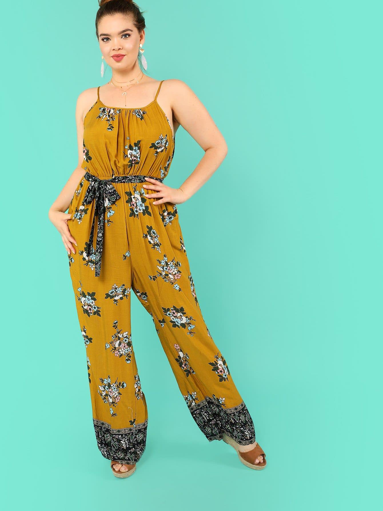 Ruffle Embellished Flower Print Cami Jumpsuit ruffle embellished flower print cami jumpsuit