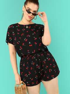 Plus Allover Cherry Print Tee & Shorts PJ Set