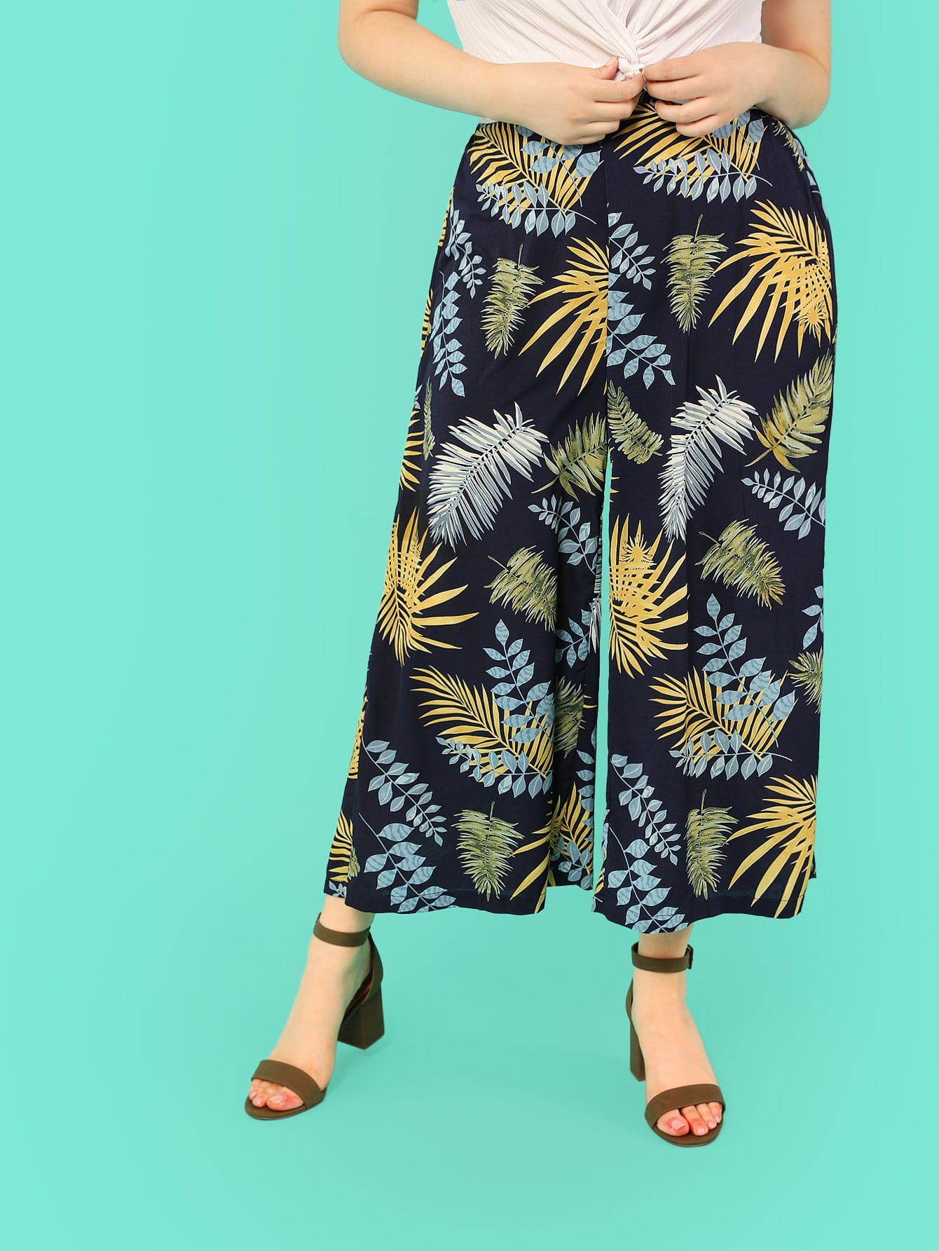 Tropical Print Palazzo Leg Pants tropical print palazzo leg pants