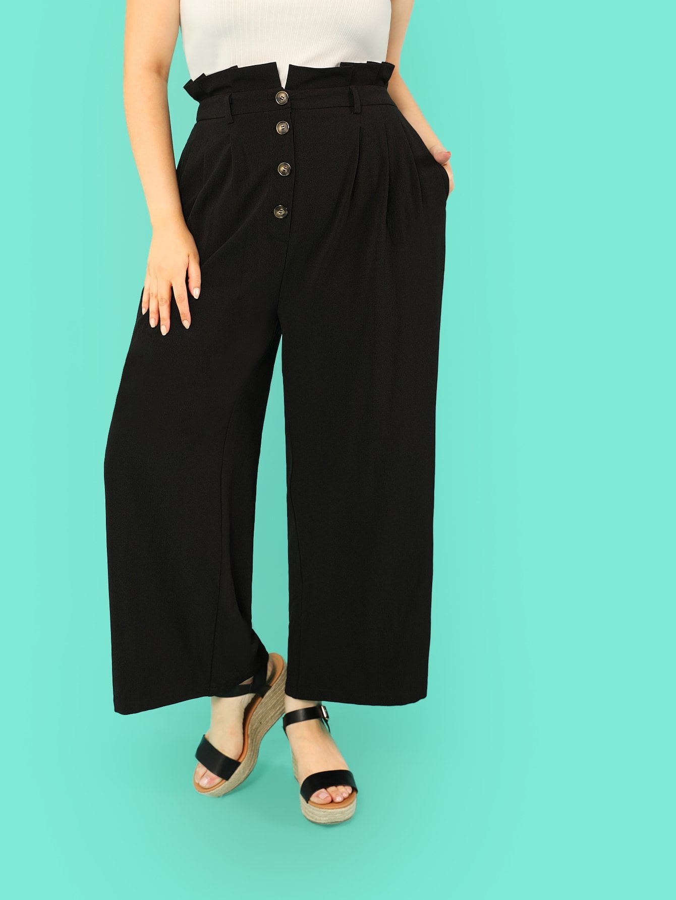 Plus Frilled Waist Button Up Pants low waist button design pencil pants