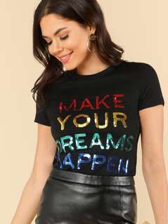 Sequin Letter Short Sleeve T-shirt