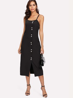 Slit Button Up Front Cami Dress