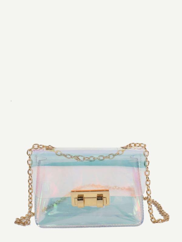 Metal Lock Decor Iridescence Chain Bag by Sheinside