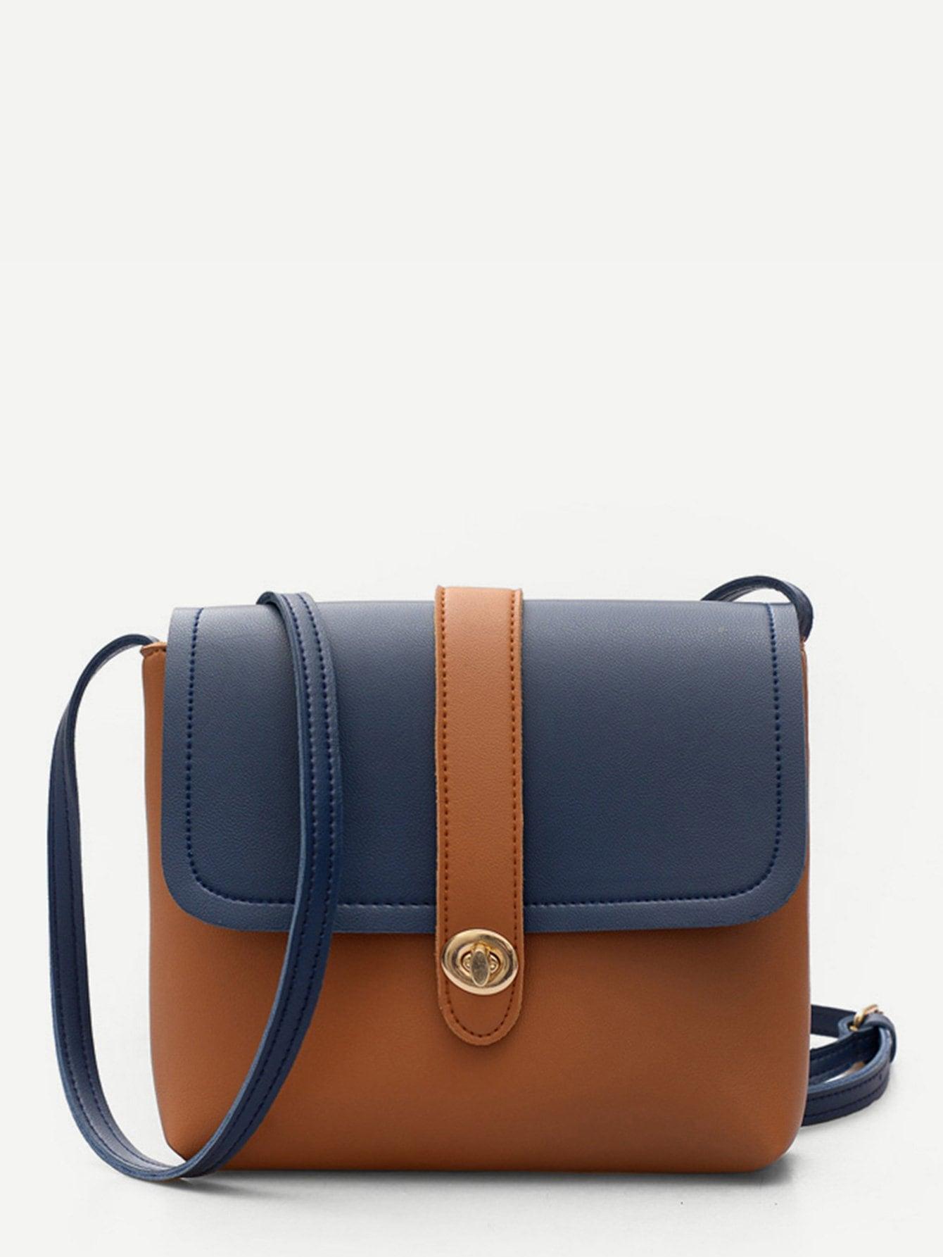 Twist Lock Detail Two Tone Crossbody Bag two tone detail buckle chain bag