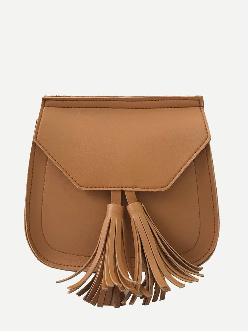 Tassel Decor Crossbody Bag, Brown