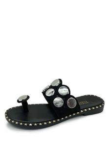 Flat Disc Toe Post Sandals