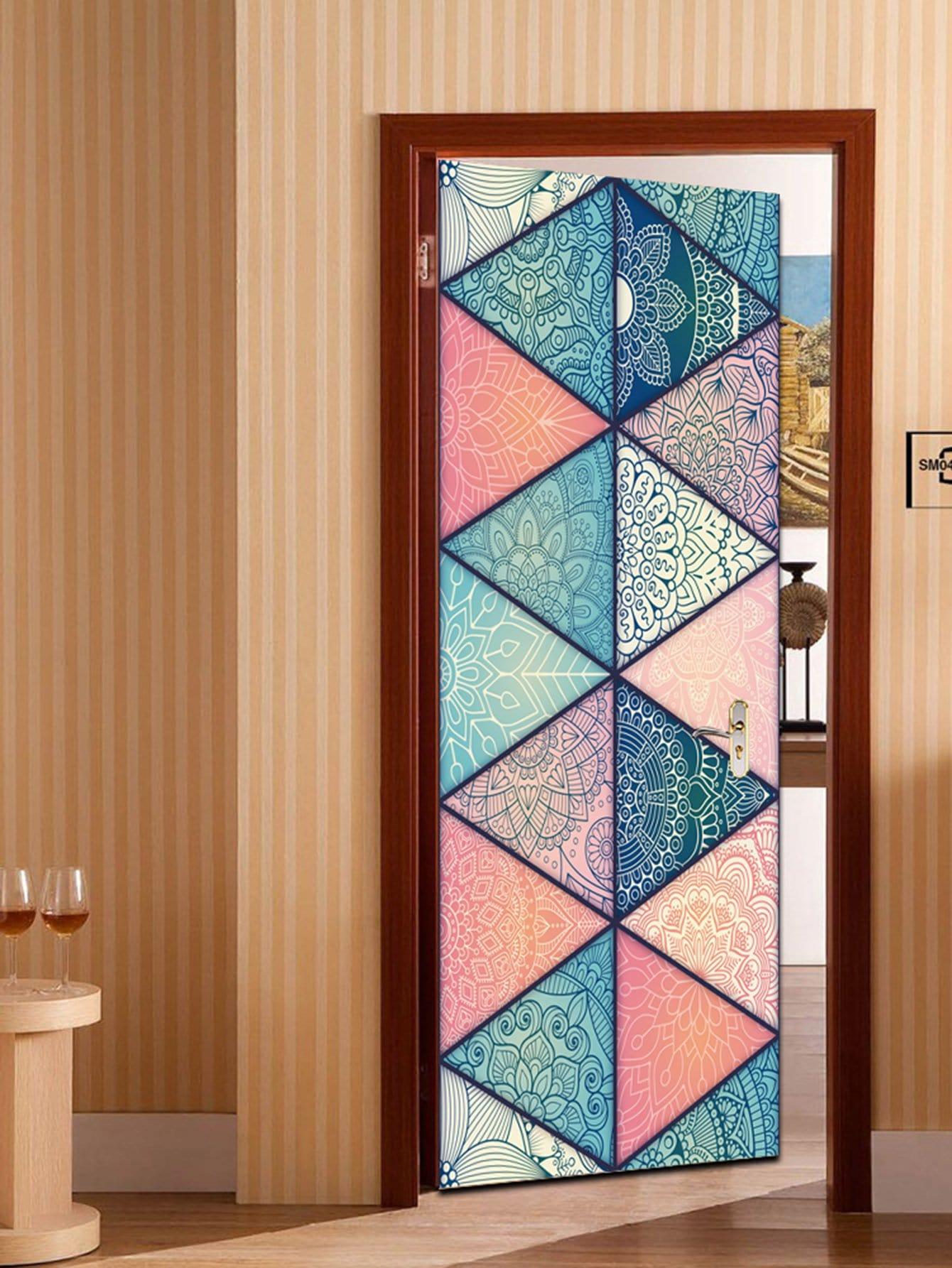 Patchwork Pattern Door Sticker patchwork door mat