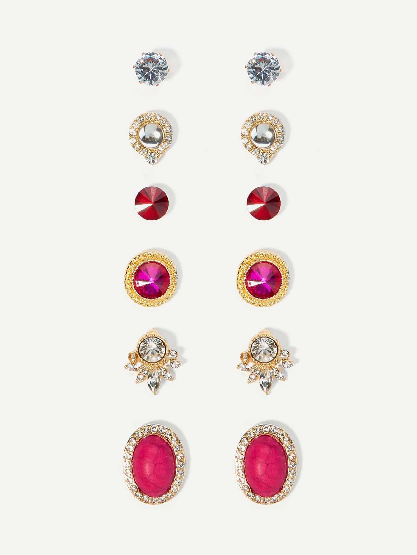 Two Tone Rhinestone Stud Earrings Set 6pairs