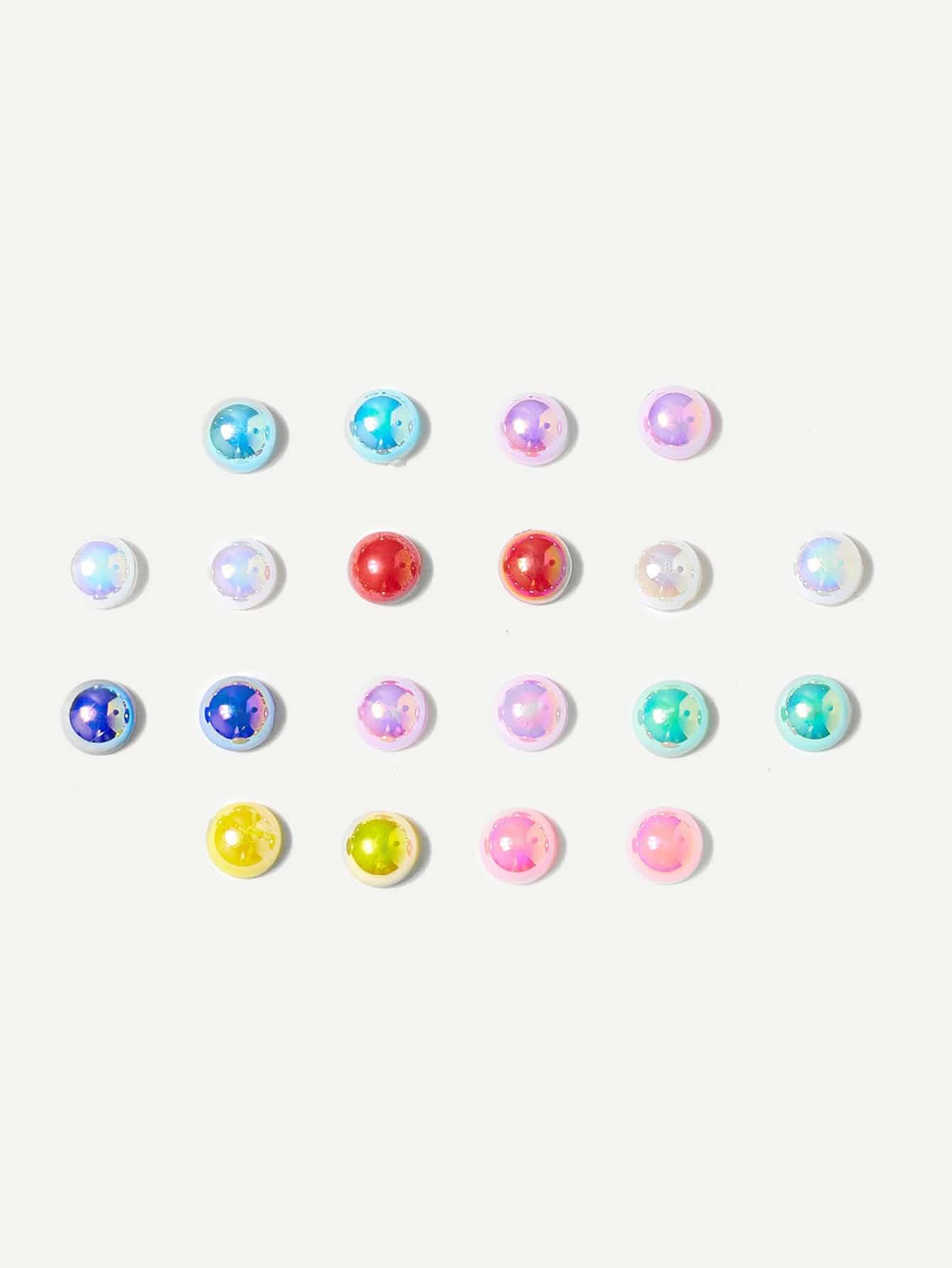 Серьги гвоздики 10 пар разные цвета