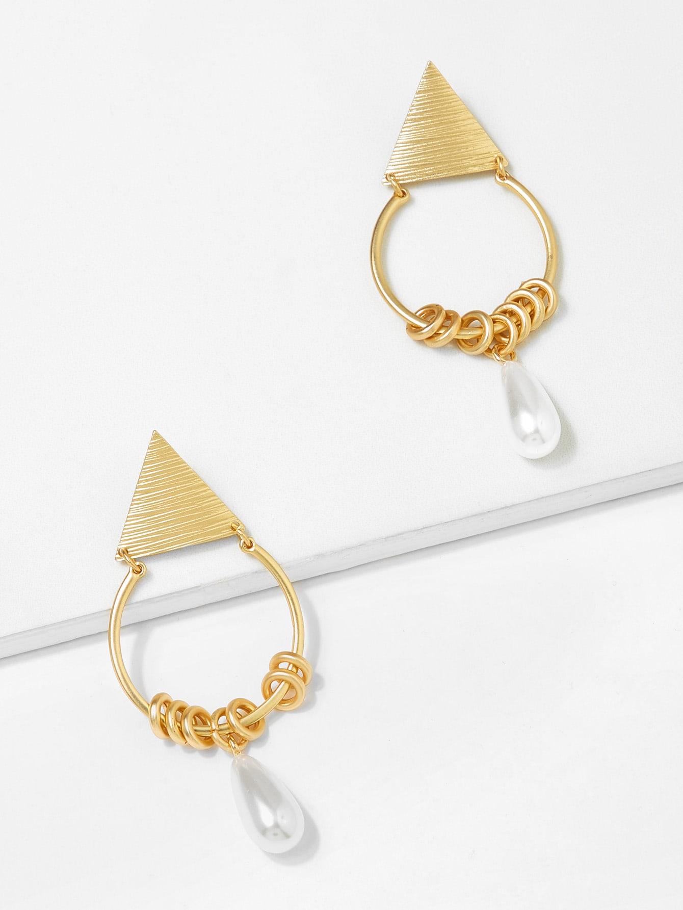 Faux Pearl & Triangle Design Hoop Earrings triangle pearl earrings