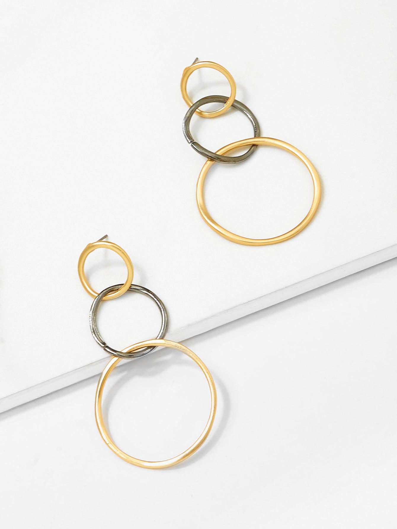Link Hoop Drop Earrings bow detail hoop drop earrings