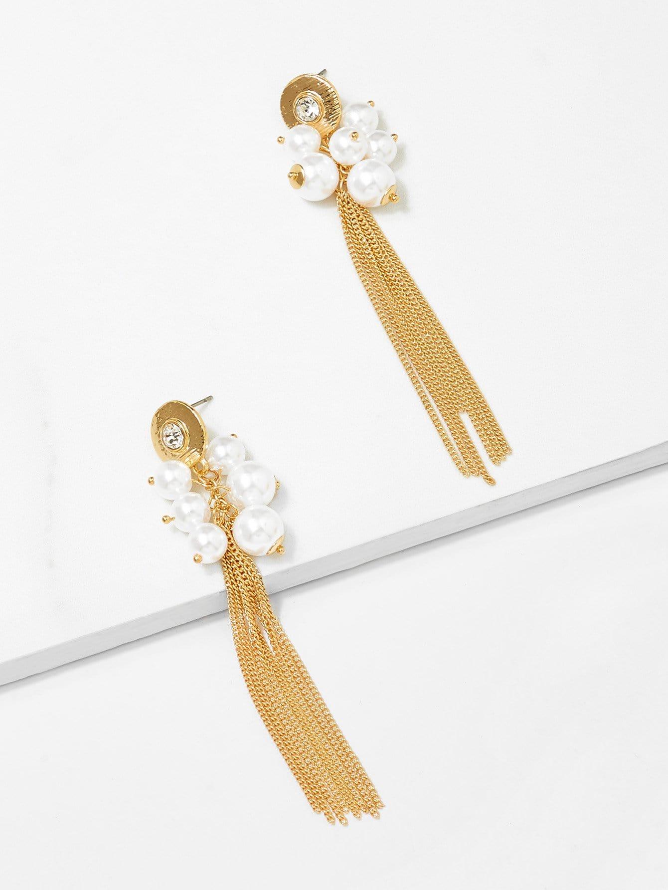 Faux Pearl Chain Tassel Drop Earrings lace faux pearl tassel drop earrings