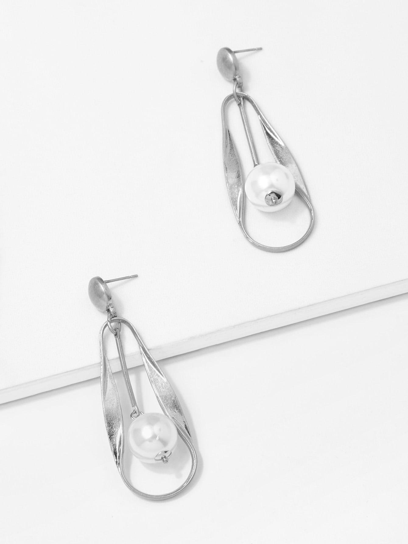 Faux Pearl & Bar Drop Earrings silver plated bar dangle drop earrings