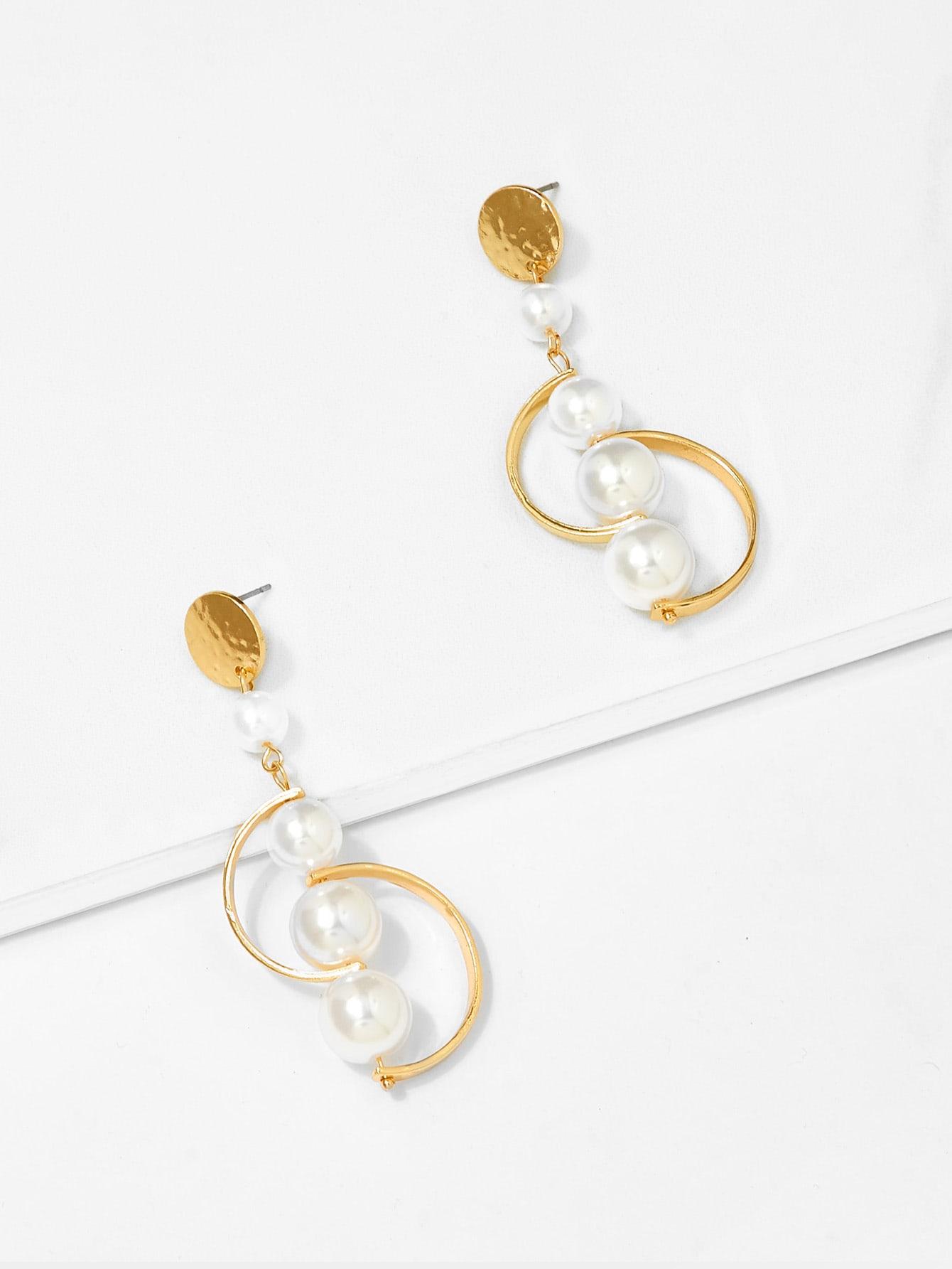 Half Circle Decorated Drop Earrings circle strip dangle drop earrings