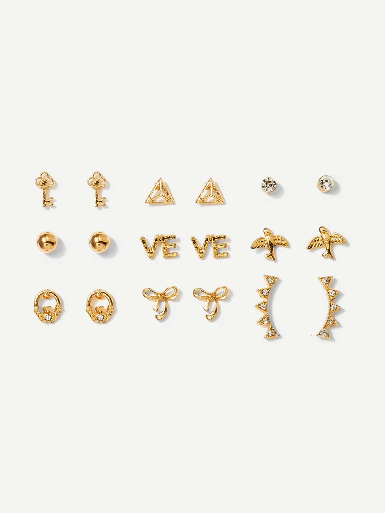 Bird & Key Detail Stud Earrings 9pairs