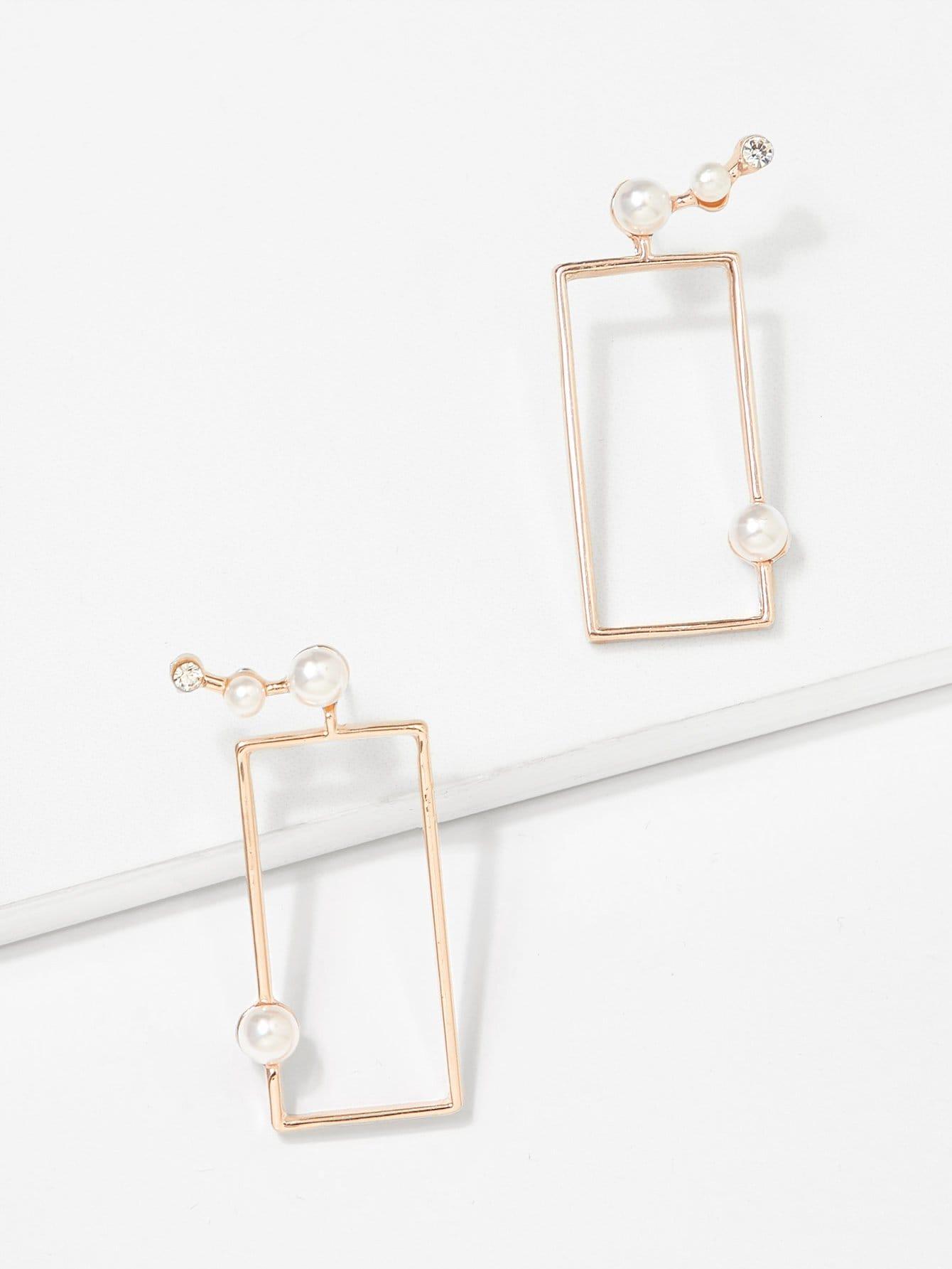 Geometric Design Drop Earrings geometric green gemstones inlaid earrings