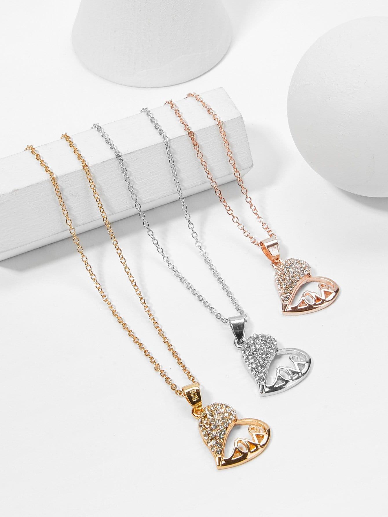 Hollow Heart Pendant Necklace Set 3pcs hollow heart pendant necklace set 3pcs