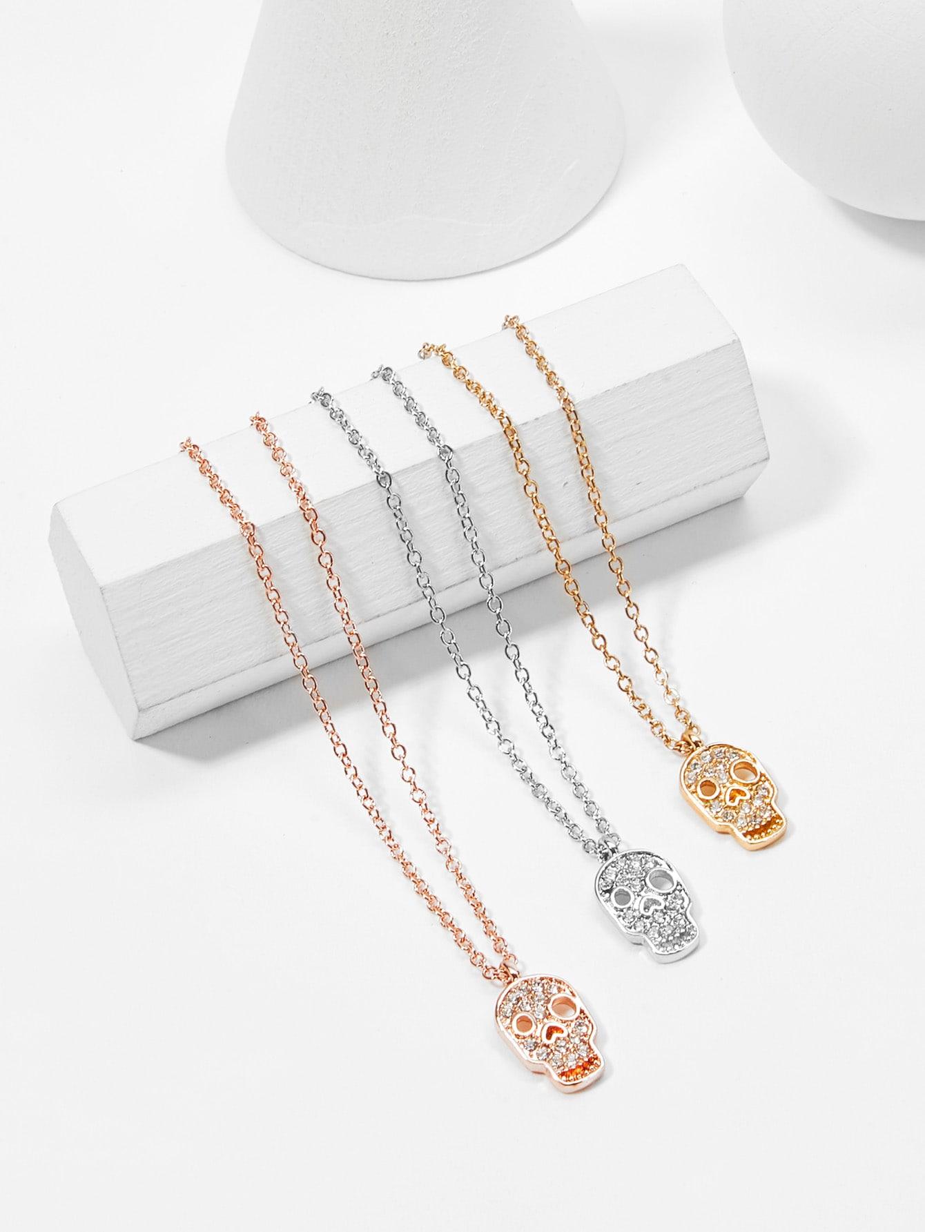 Skeleton Detail Pendant Necklace Set 3pcs hollow heart pendant necklace set 3pcs